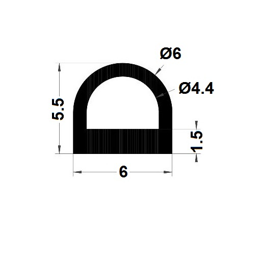 Bumper profile - 5,50x6 mm