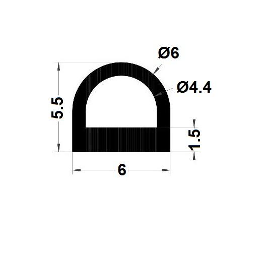 Profilé antichoc - 5,50x6 mm