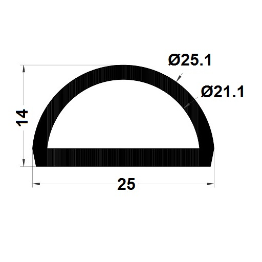 Bumper profile - 14x25 mm