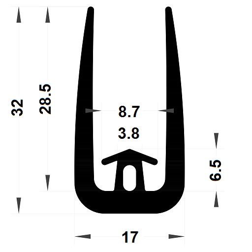 Veranda & conservatory gasket - 32x17 mm