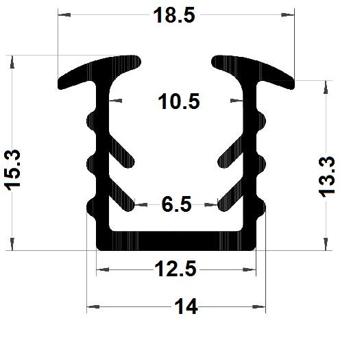 Glazing seal - 15,50x18,50 mm