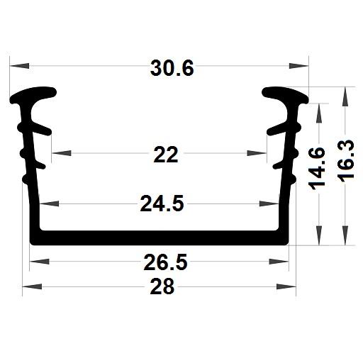Glazing seal - 16,30x30,60 mm