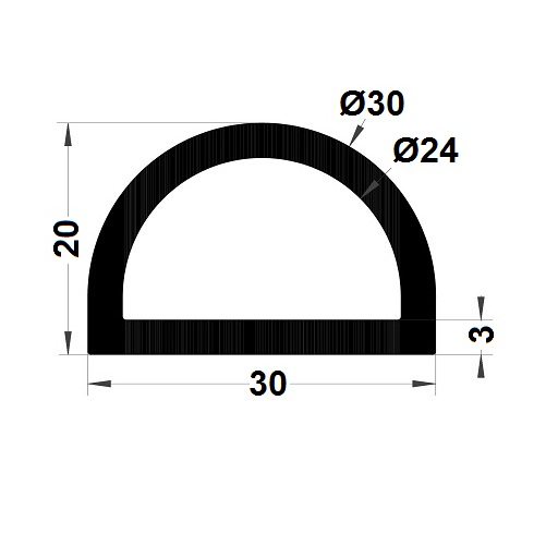 Bumper profile - 20x30 mm