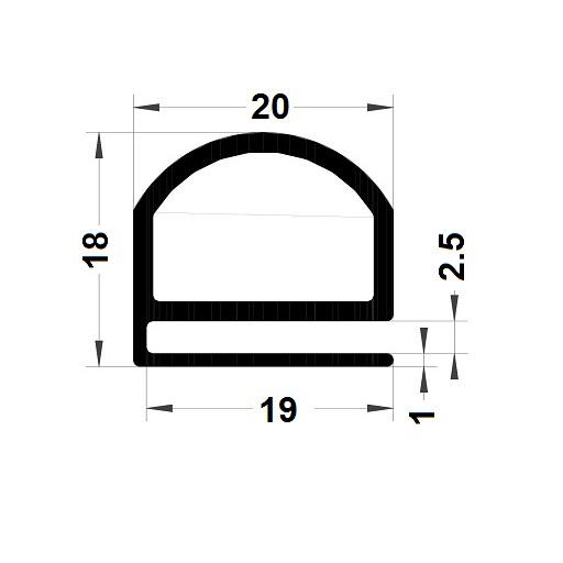 Profilé en E - 18x20 mm