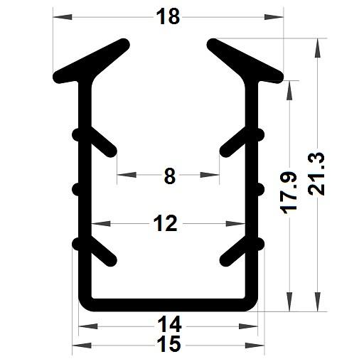 Glazing seal - 21,30x18 mm
