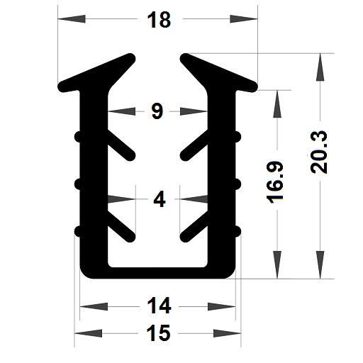 Glazing seal - 20,30x18 mm