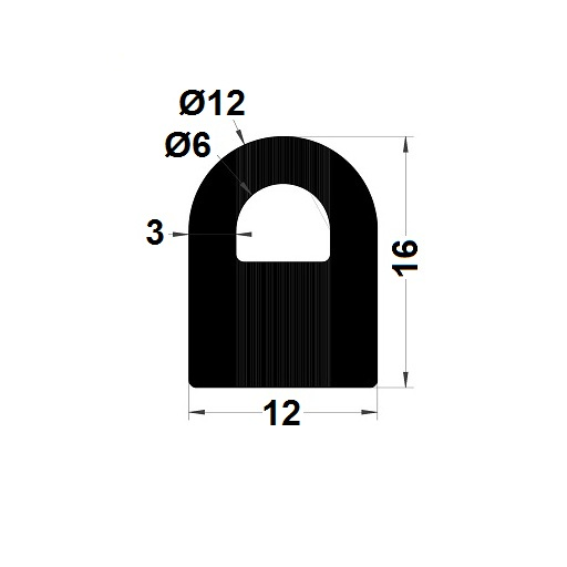Bumper profile - 16x12 mm