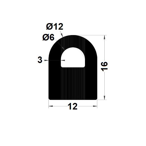 Profilé antichoc - 16x12 mm