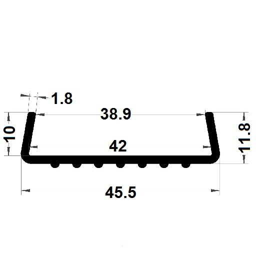 Profilé en U avec double adhésif - 11,80x45,50 mm