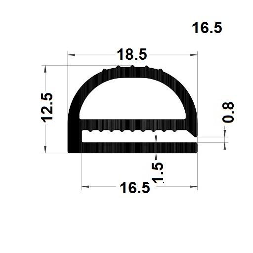 Profilé en E - 12,50x18,50 mm