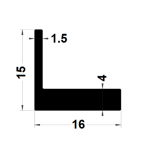 Profilé en L - 15x16 mm