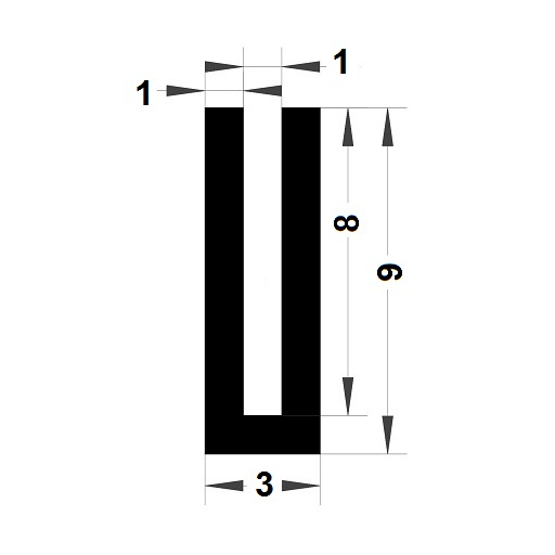 Profilé en U - 9x3 mm