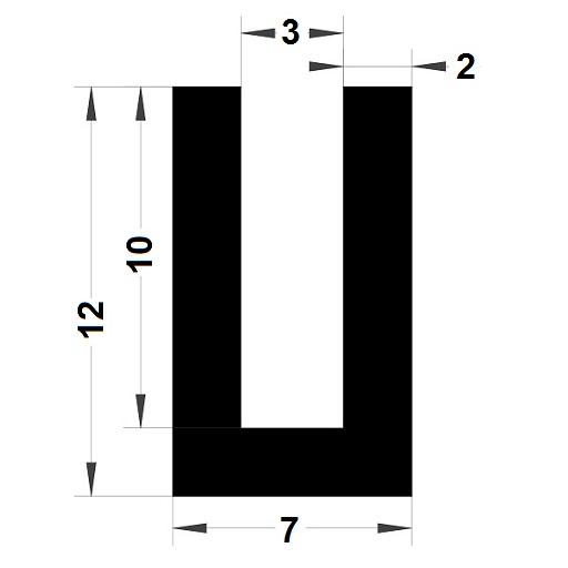 U Profile - 12x7 mm