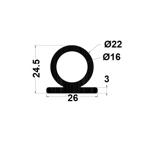 Bumper profile - 24,50x26 mm