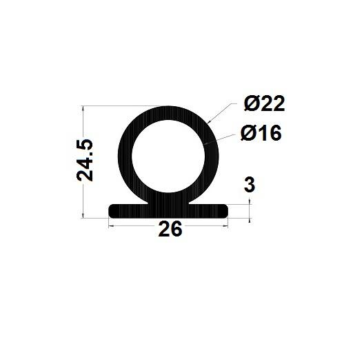 Profilé antichoc - 24,50x26 mm